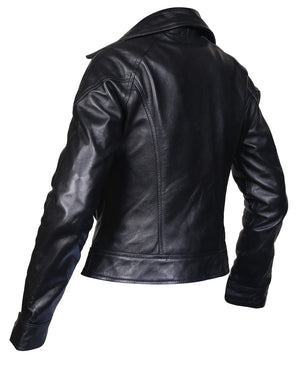 Women Brown Designer Biker Motorcycle Leather Jacket