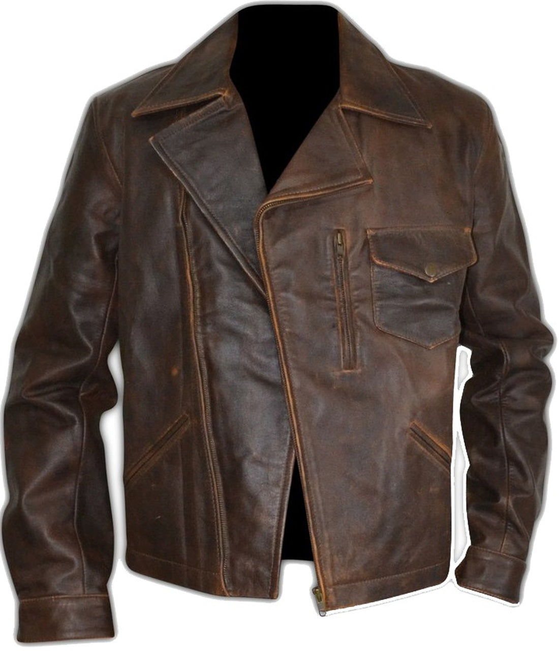 Escape Snake Plissken Antique Brown Biker Leather Jacket