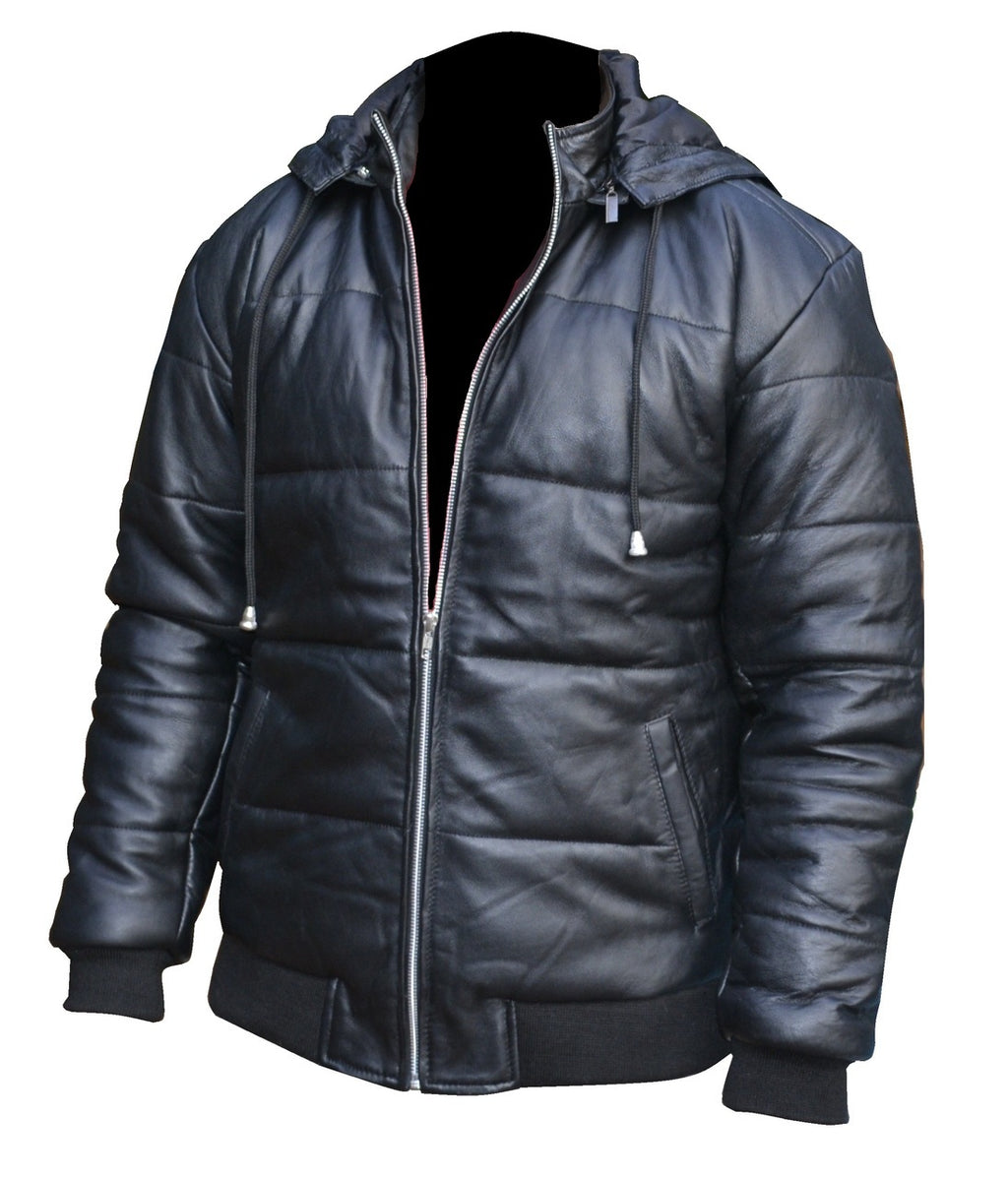 Puffer Removable Hoodie Designer Leather Jacket