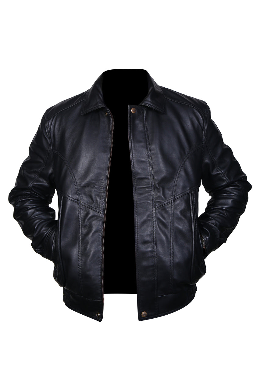 Flight Bomber Safari Leather Jacket