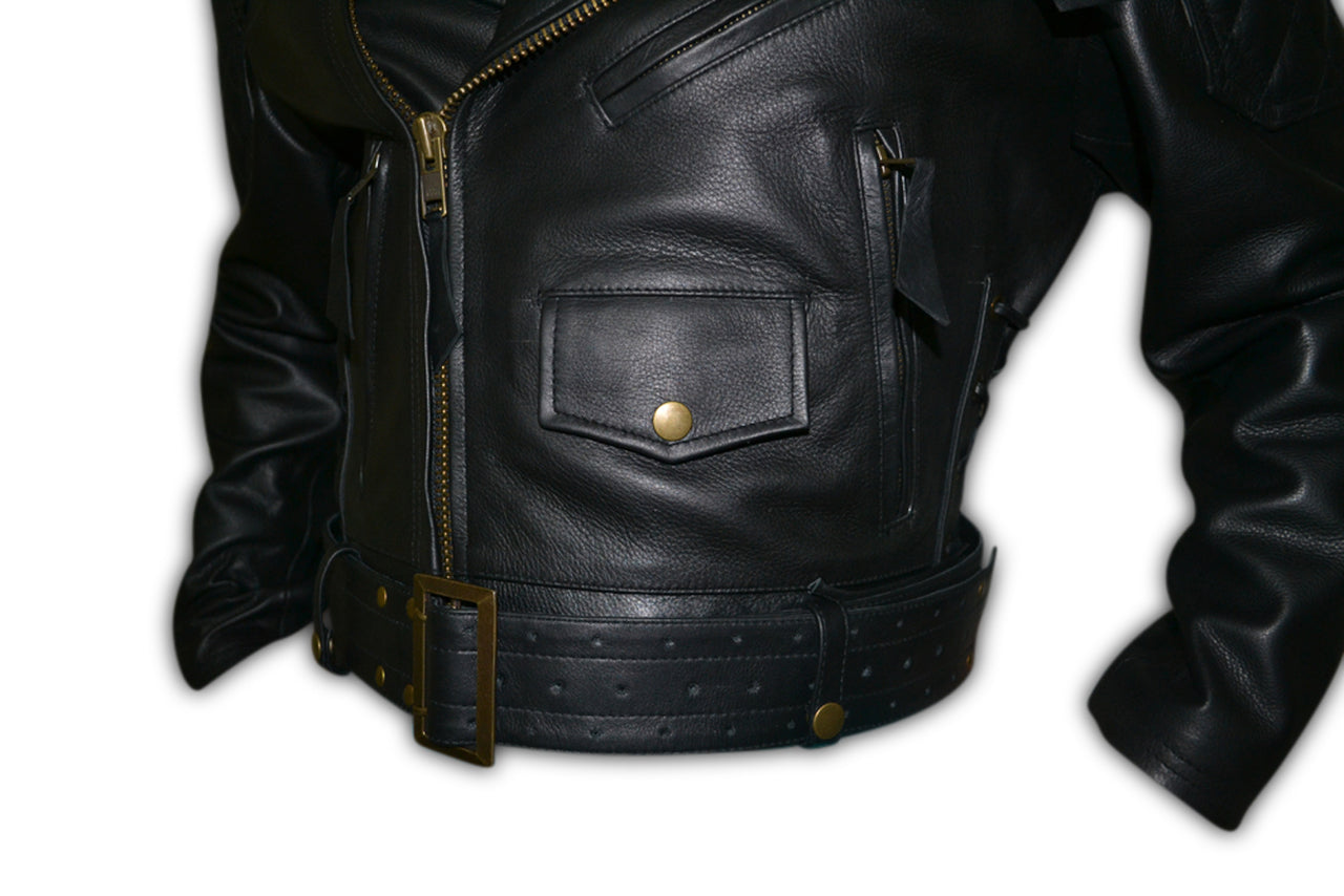 Mens Quilted Side Lace up Leather Biker Jacket