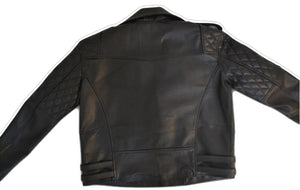 Mens Quilted Leather Motorcycle Biker Jacket