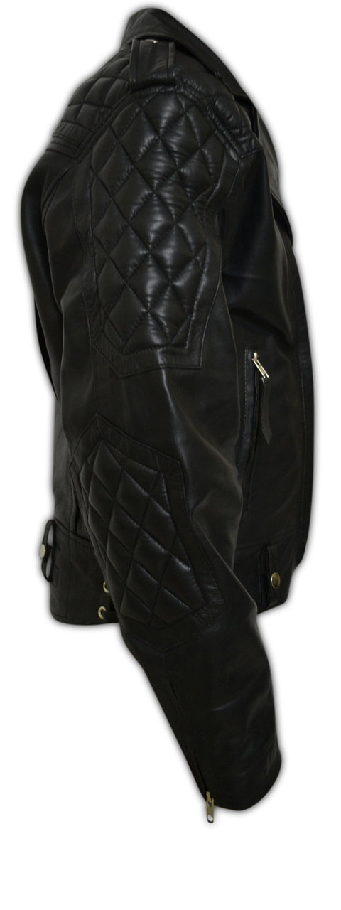 Mens Quilted Side Lace-Up Designers Biker Leather Jacket