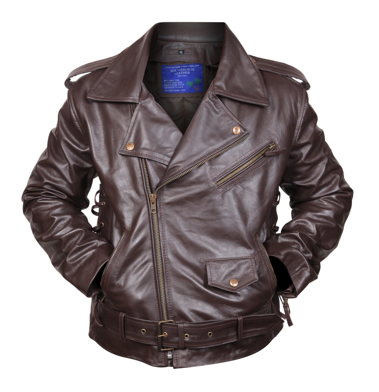 Side Lace-up Brown Motorcycle Biker Leather Jacket