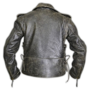 Side Lace-up Vintage Distress Motorcycle Biker Leather Jacket