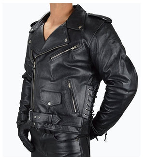 Biker Motorcycle Side lace-up Leather Jacket