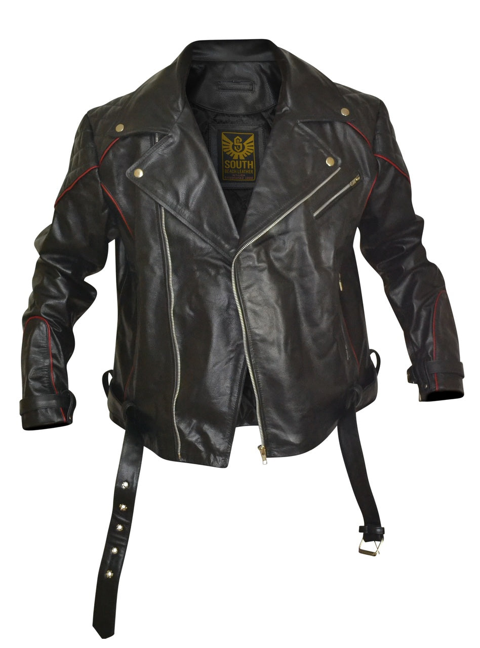 Black Leather Biker Jacket With Red Piping Design