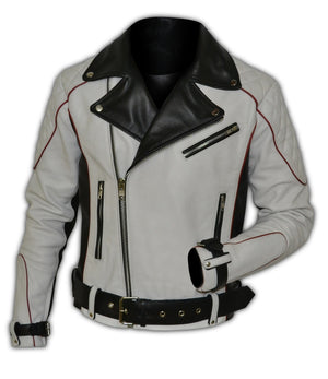 Leather Biker Jacket With Red Piping Design