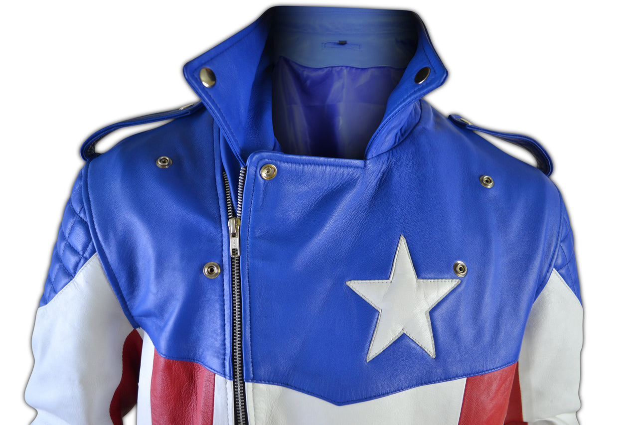 United States of America USA Flag Biker Leather Jacket