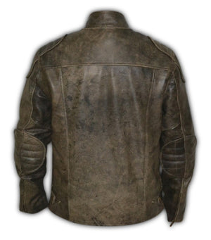 Vintage Distressed Retro Racer Leather Jacket