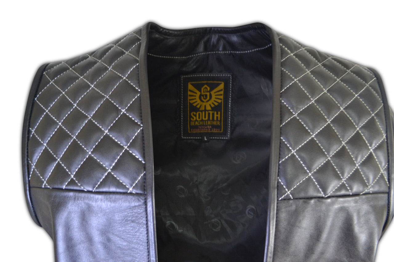 Mens Motorcycle Biker Quilted Leather Vest
