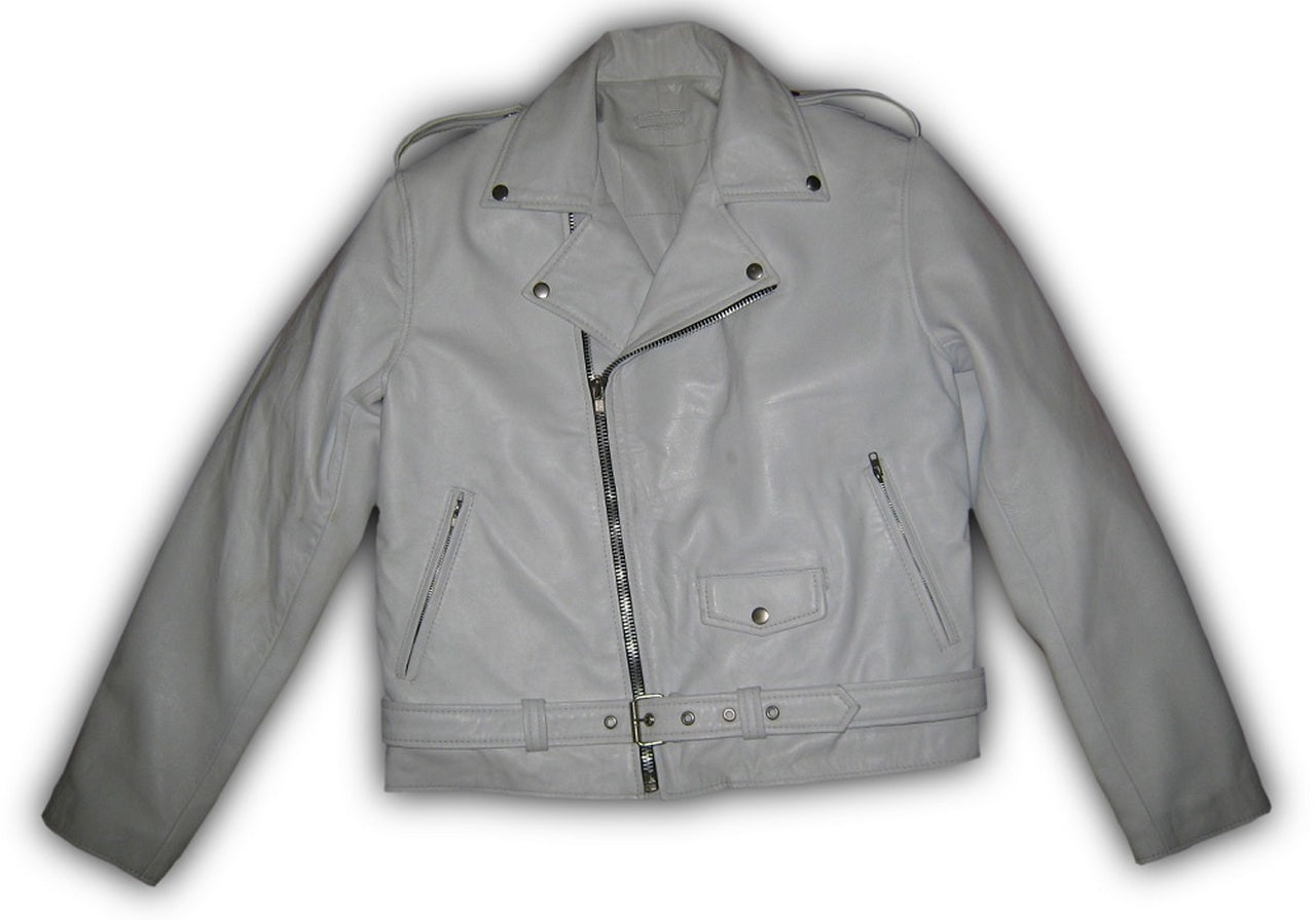 White Designer Mens Motorcycle Biker Leather Jacket