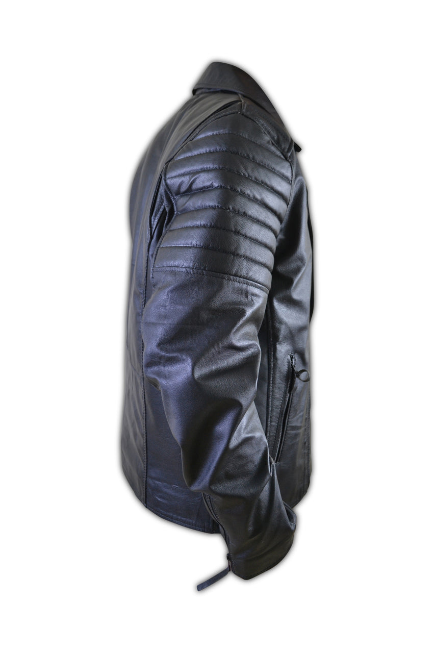 Mens Black Padded Biker Designer Leather Jacket