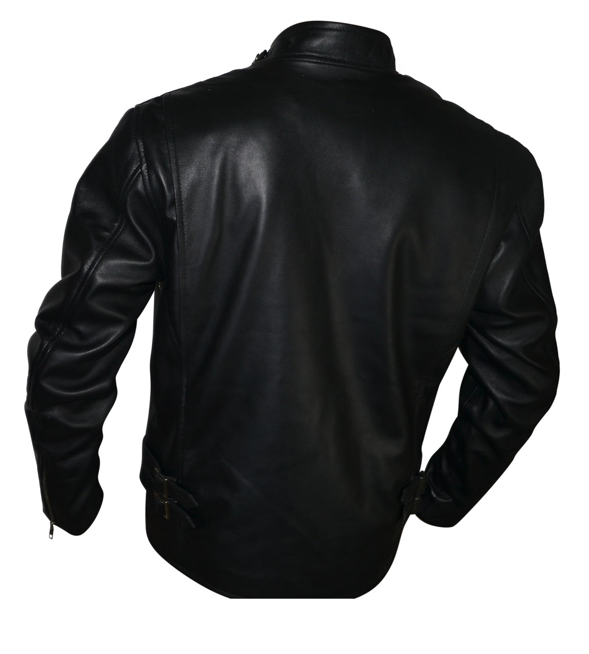 Men Designer Shoulder Padded Motorcycle Racer Leather Jacket