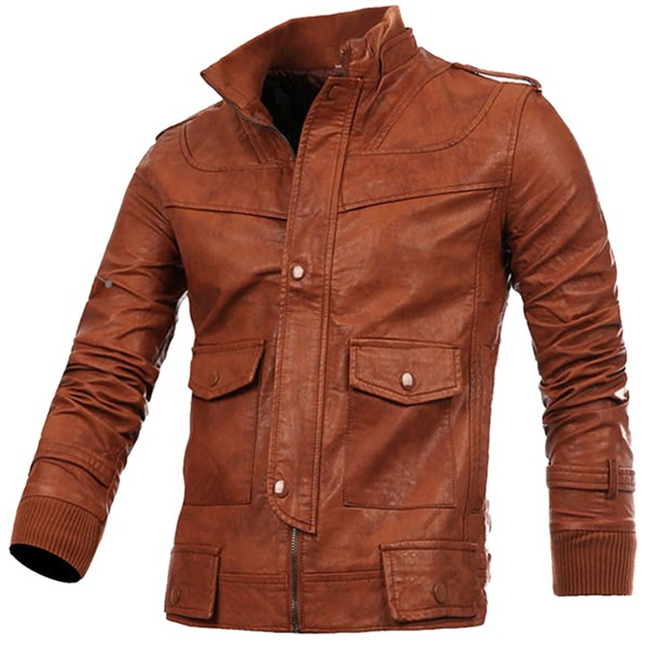 Mens Designer Antique Tan Four Pocket Leather Jacket