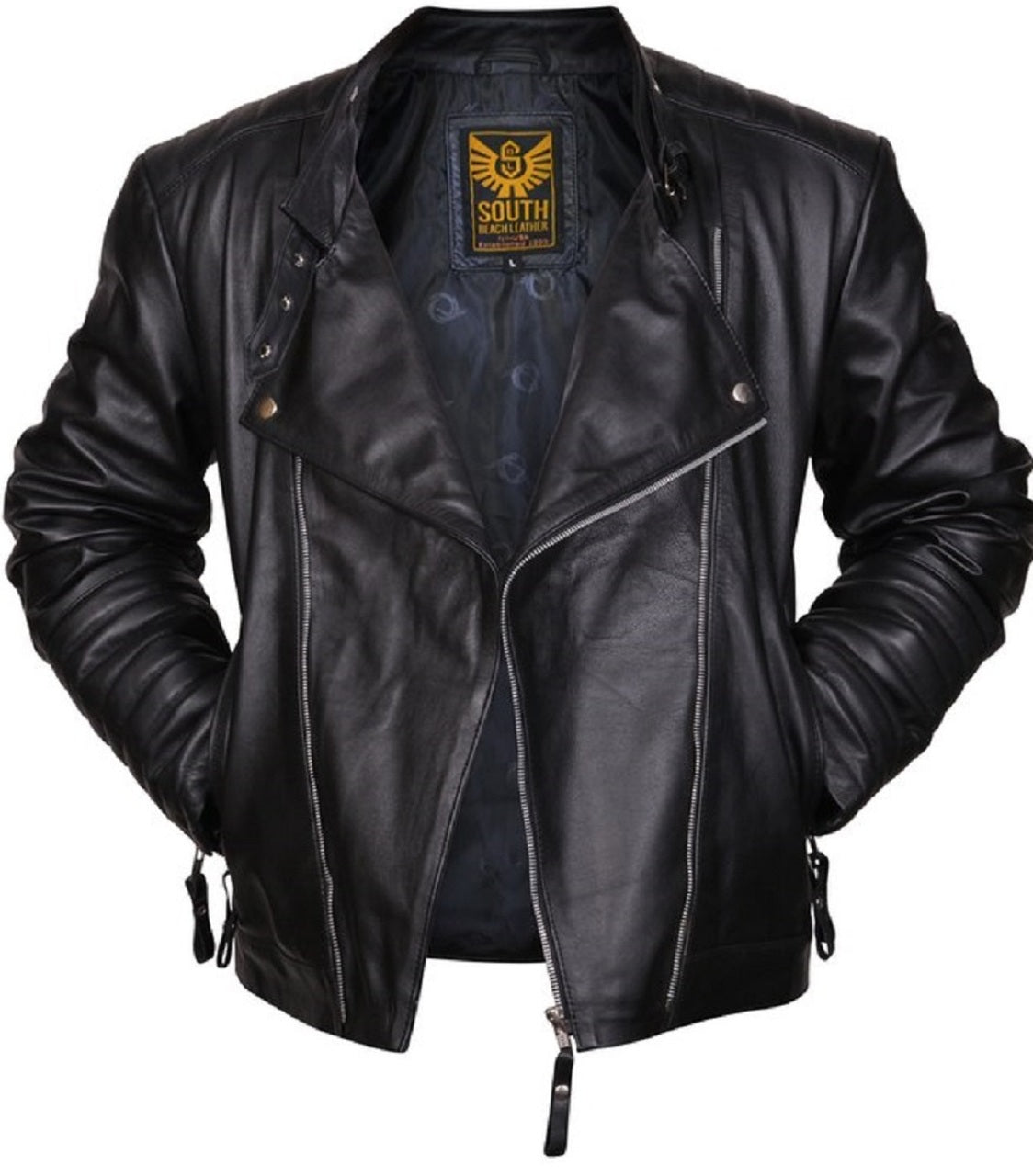 Mens Designer Biker Leather Jacket