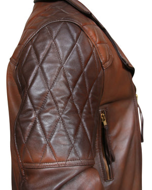 Men's Classic Diamond Motorcycle Biker Brown Distressed Vintage Leather Jacket