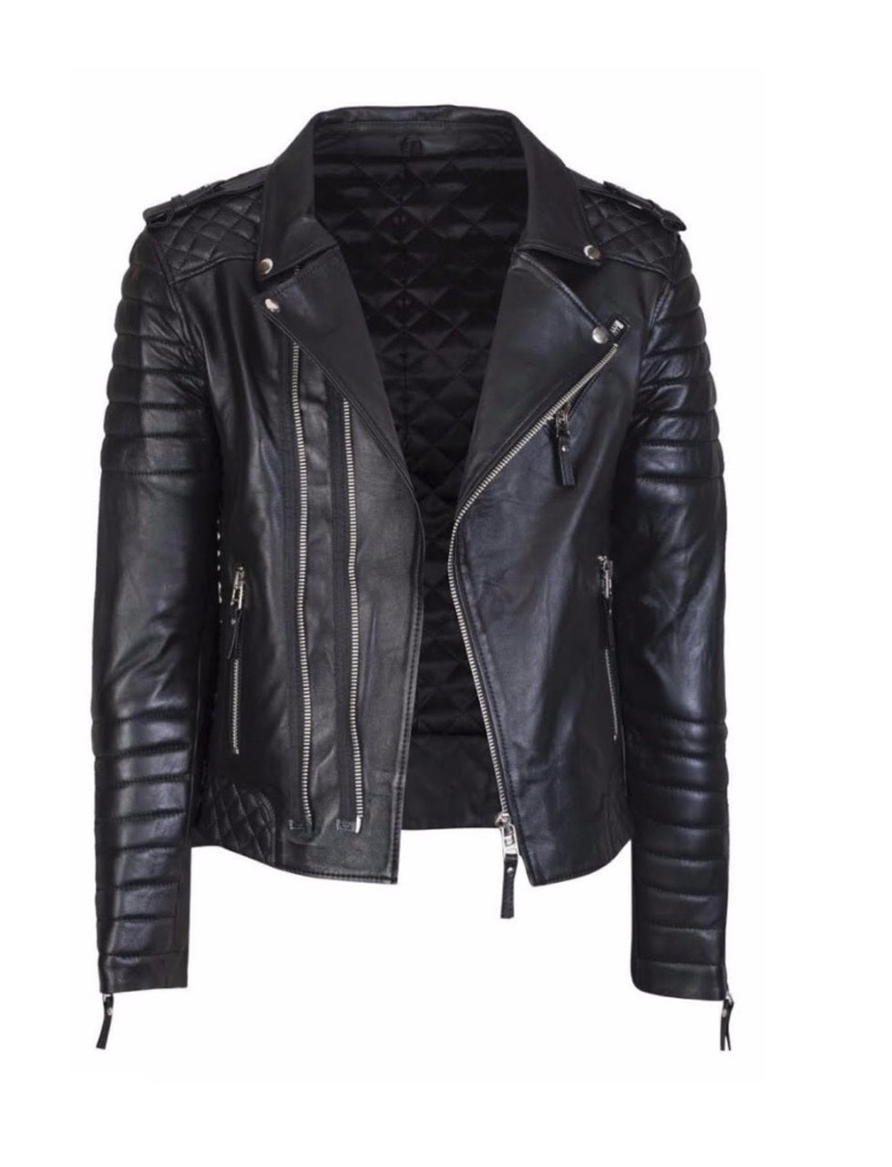 Men's Designer Quilted Padded Biker Leather Jacket