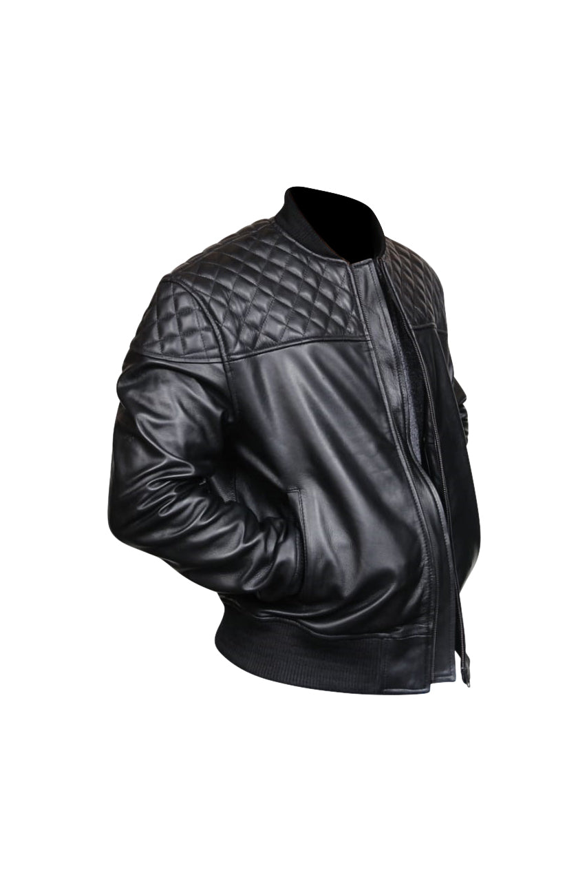 Men's Quilted Shoulder Rib Design Slim Leather Jacket