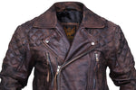 Motorcycle Distressed Natural Rugged Biker Leather Jacket