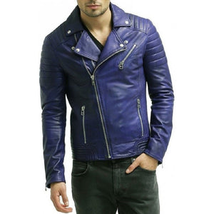 Men's Biker Padded Style Blue Leather Jacket