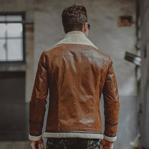 Men's Stylish Motorcycle Fur Brown Leather Jacket