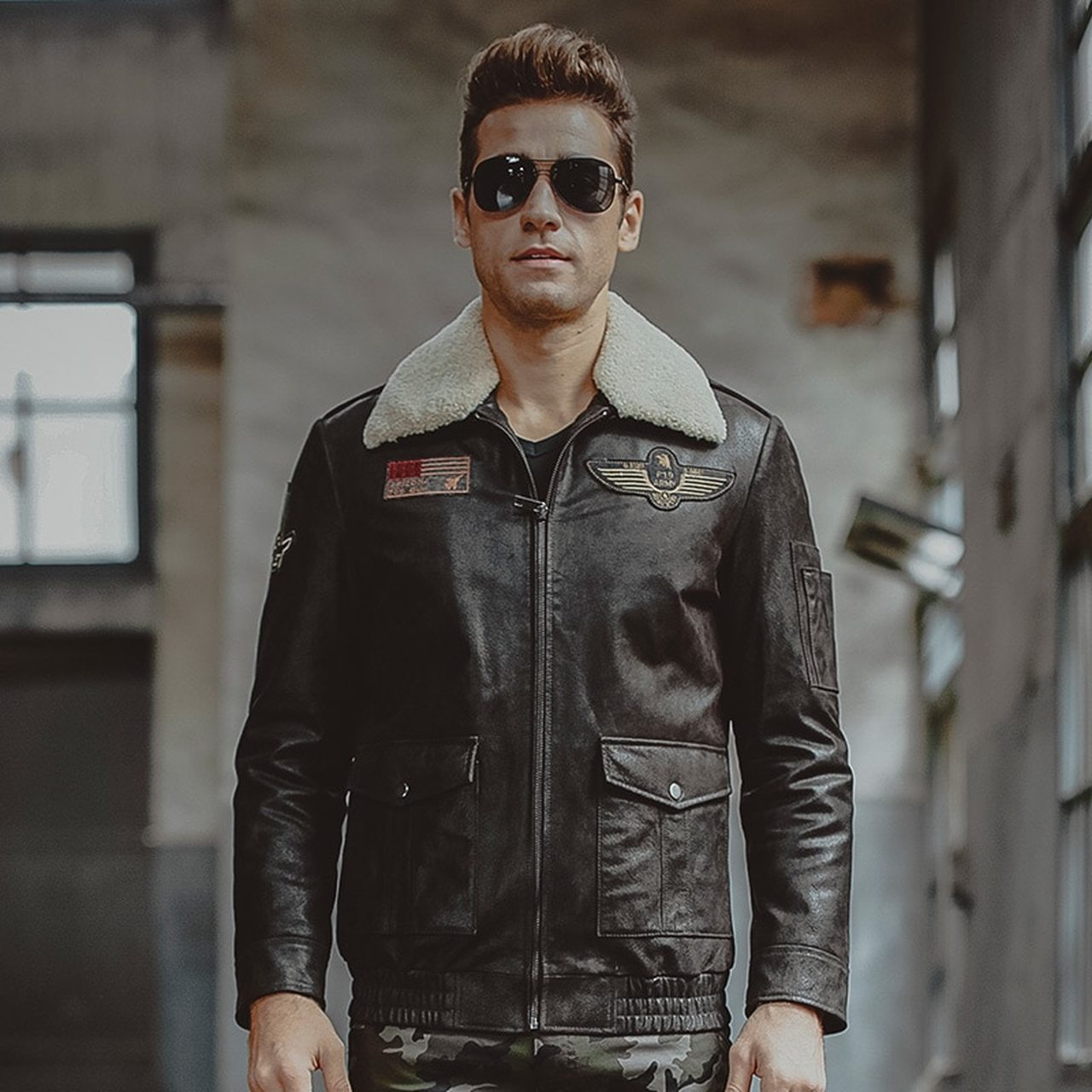 Men's  Aviator Motorcycle  Biker Black Genuine Leather Jacket