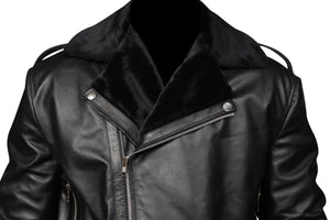 Men's Asymmetrical Zipper Black  Fur Lined Jacket