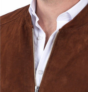 Men's Casual Style Brown Suede Leather Jacket