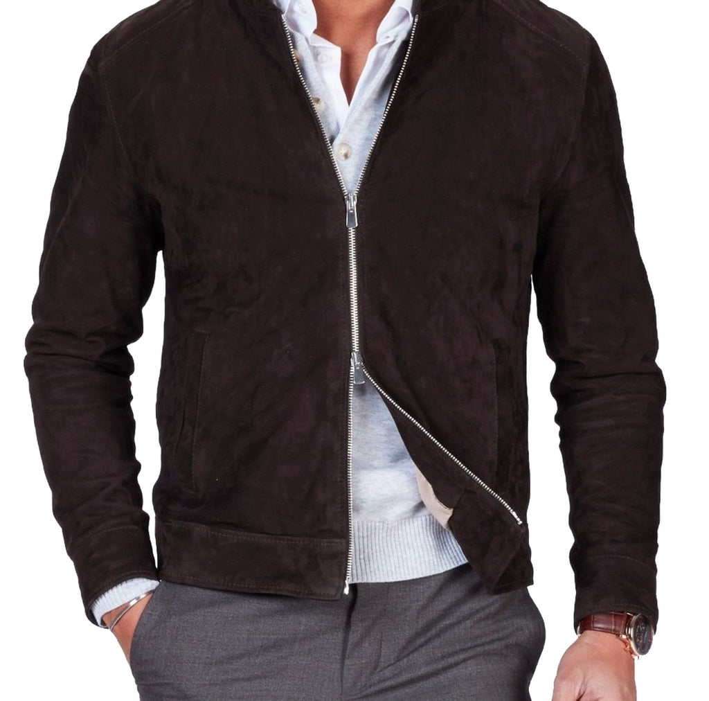 Men's Casual Style Zipper Dark Brown Suede Leather Jacket