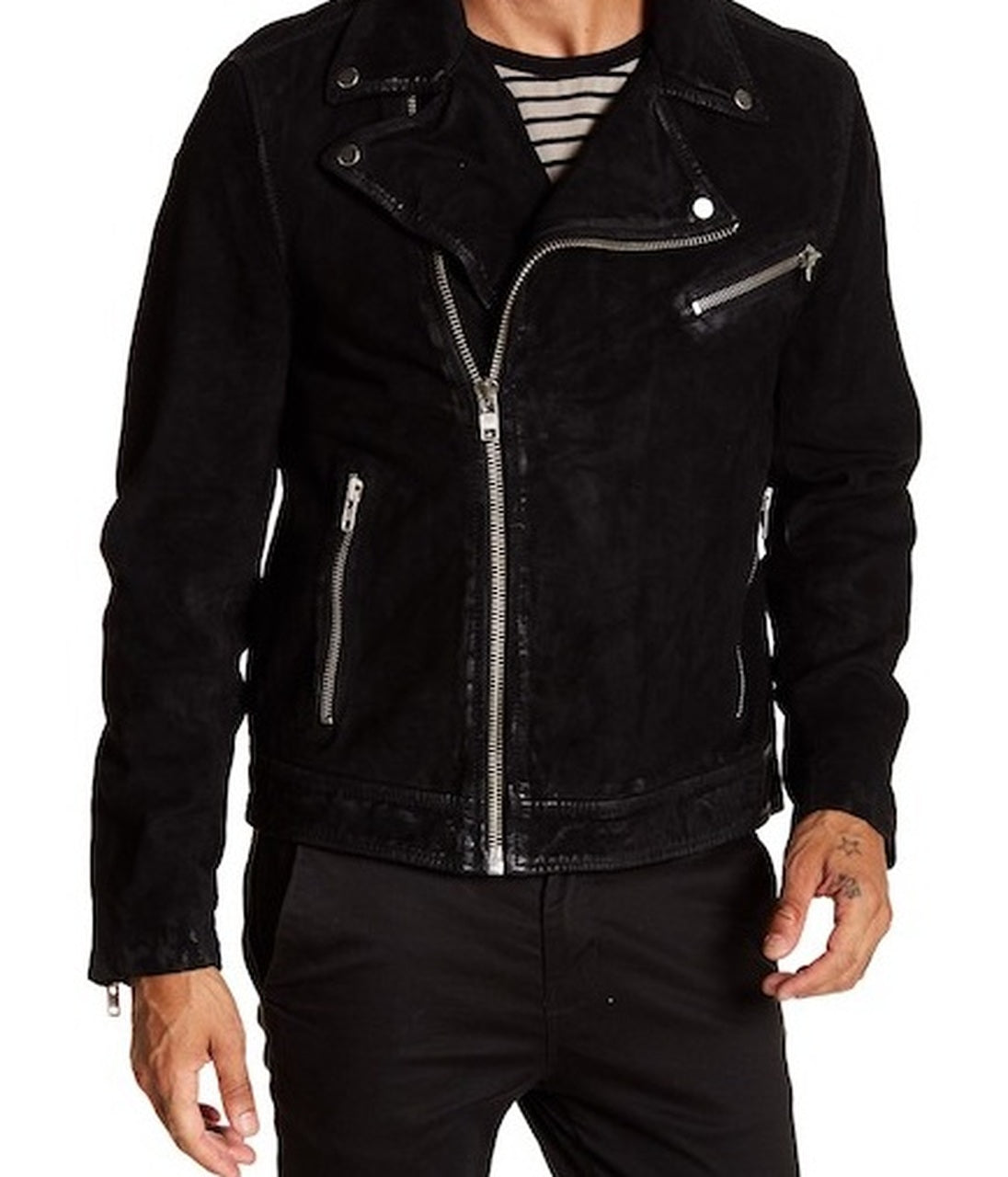Men's Motorcycle Style Zipper Black  Suede Leather Jacket