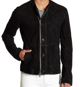 Men's Motorcycle Style Collarless Black Suede Leather Jacket