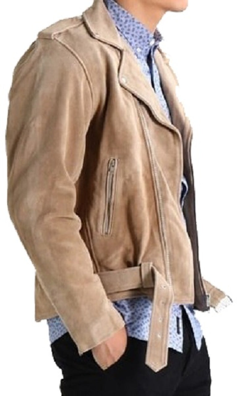Men's Motorcycle Style Zipper Beige Color  Suede Leather Jacket