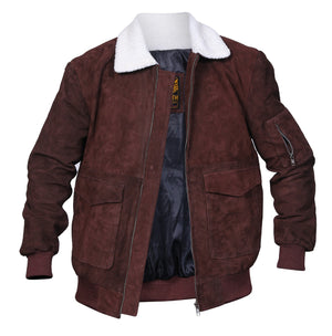 Men's Motorcycle Style Zipper Fur Collar  Suede Leather Jacket