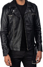 Men's Biker Style Zipper Black Genuine Leather Jacket