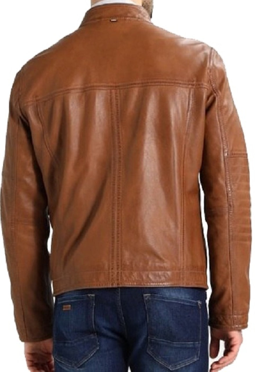 Men's Designer Biker Style Classic Tan Color Genuine Leather Jacket