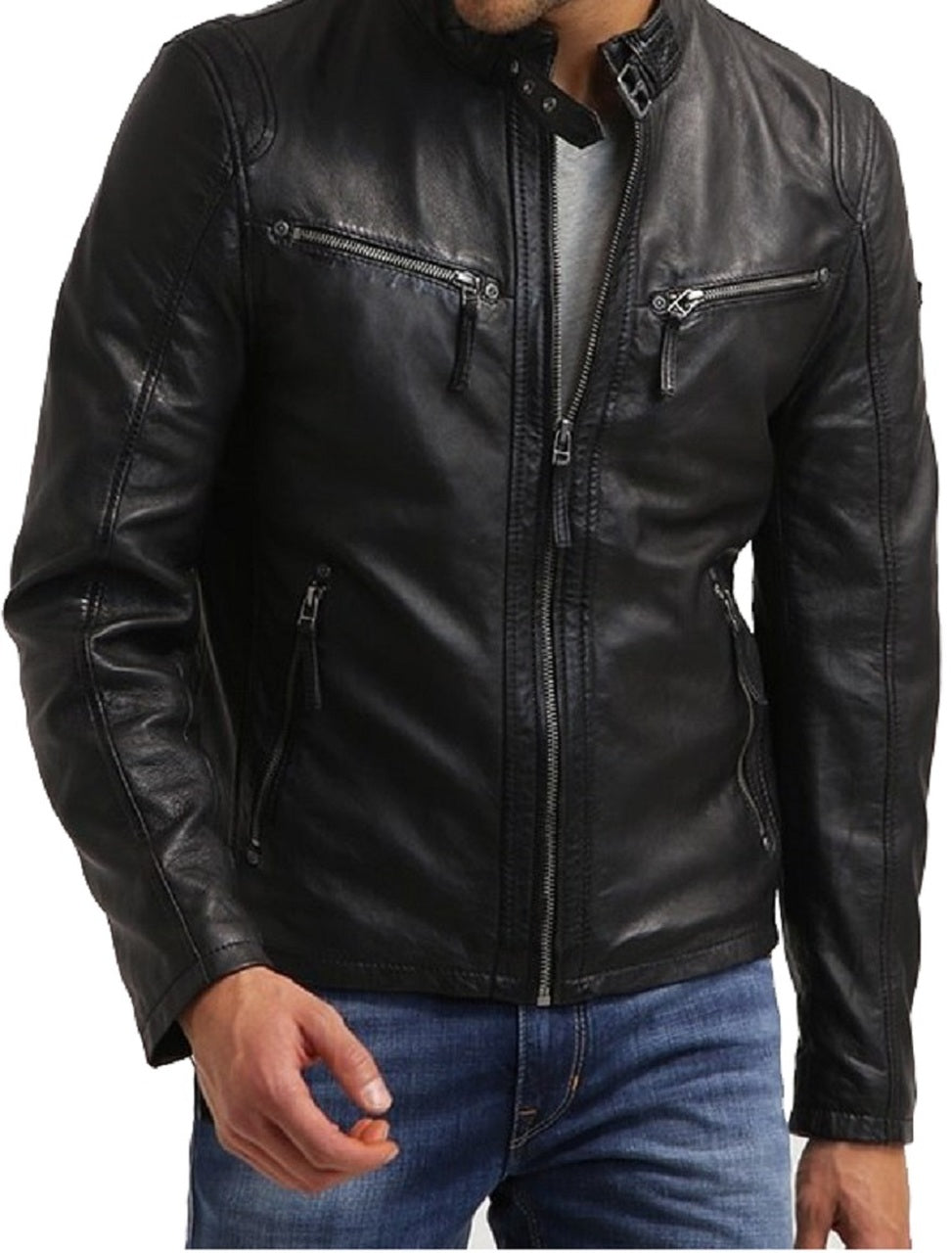 Men Designer Biker Style Classic Black Zipper Genuine Leather Jacket