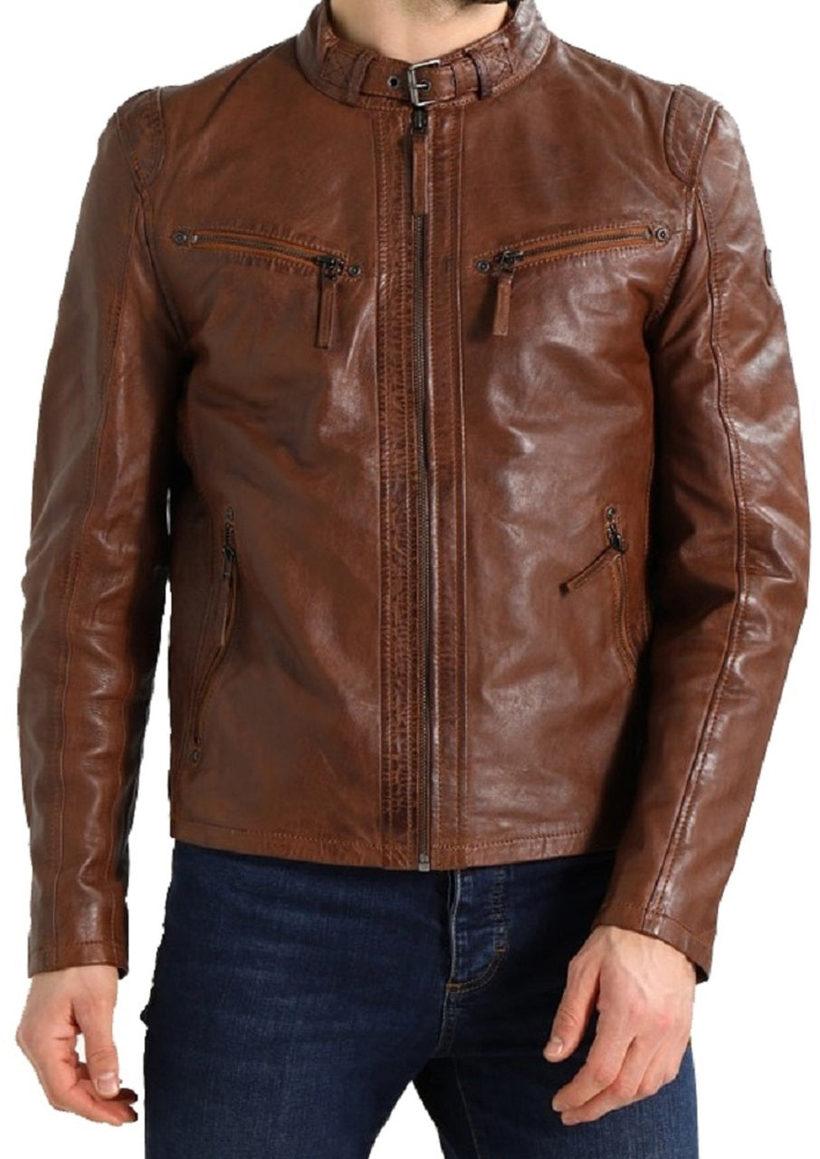 Men's Designer Biker Style Classic Brown Color Zipper Genuine Leather Jacket