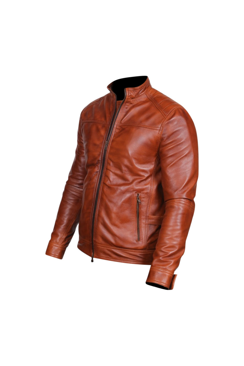Men's Designer Biker Style Brown Color Zipper Genuine Leather Jacket