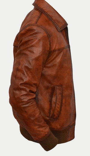 Mens Biker Motorcycle Vintage Distressed Brown Bomber Winter Leather Jacket