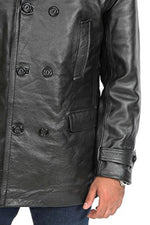 Mens Double Breasted Lapel Collar Genuine Black Leather Blazer Jacket
