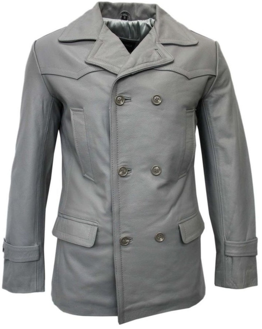 Submarine World War 2 German Grey Three Qaurter Leather Pea Coat Blazer