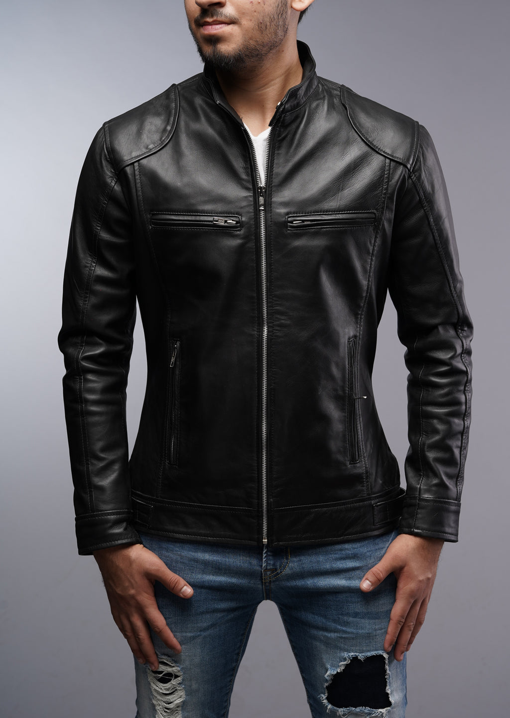 Men Cafe Racer Bomber Black Motorcycle Leather Jacket
