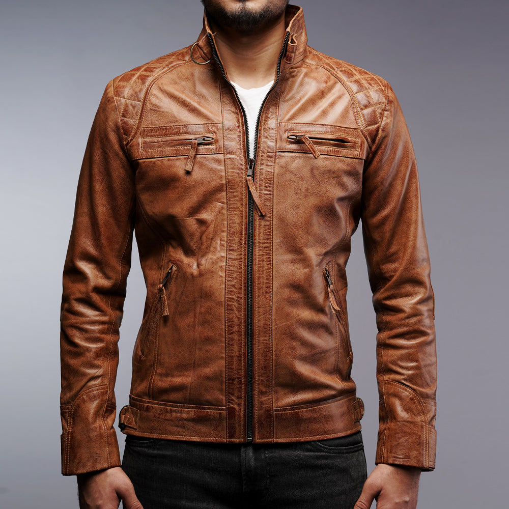 Mens Biker Motorcycle Vintage Brown Leather Jacket