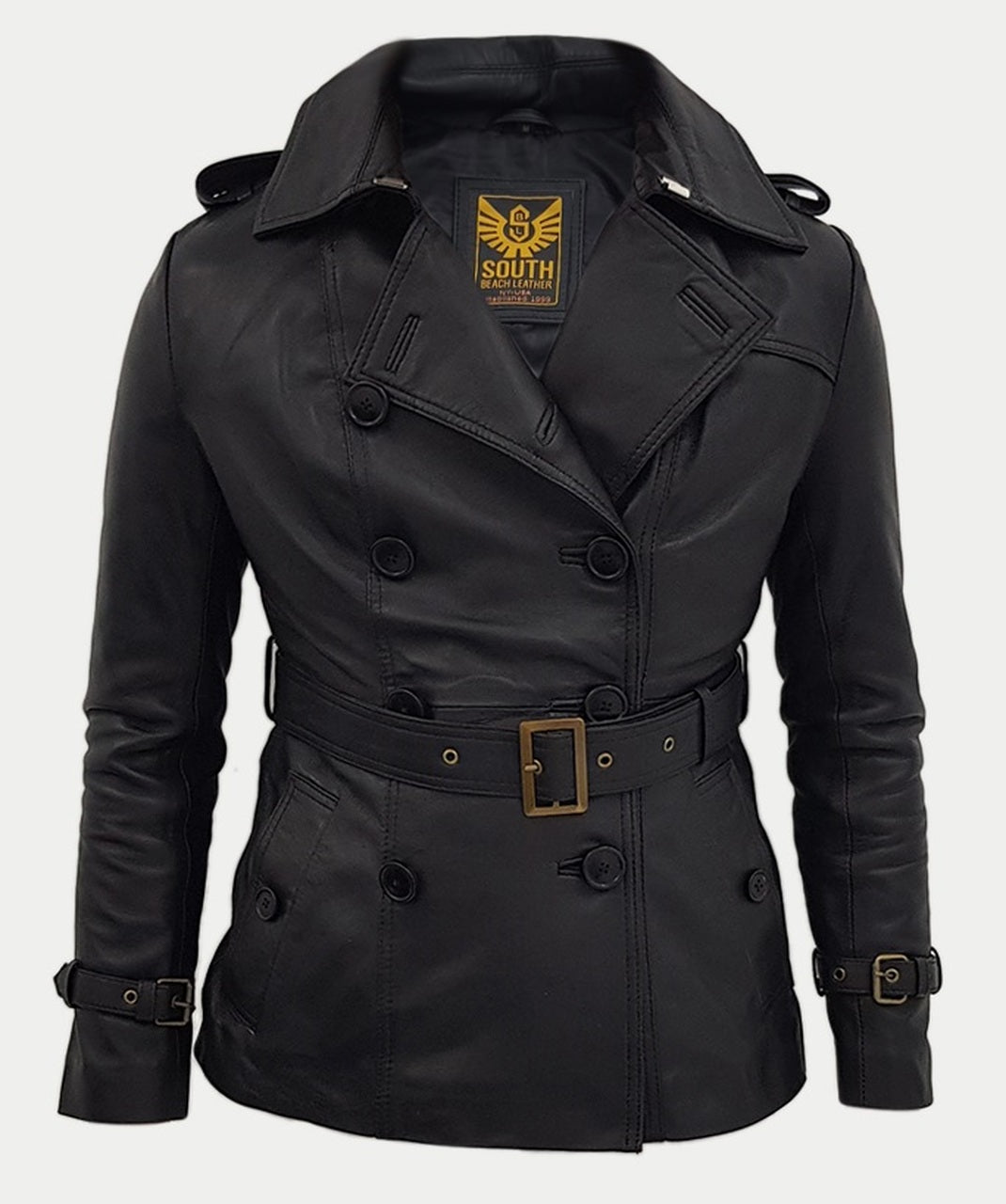 Women Designer Black Slim Trench Three Quarter Coat Jacket