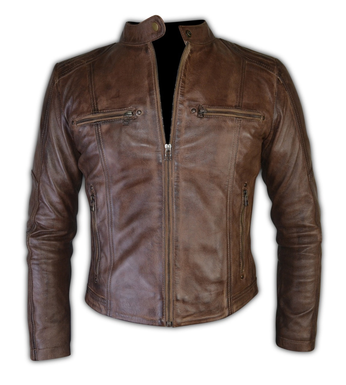 Women Vintage Brown Biker Leather Jacket