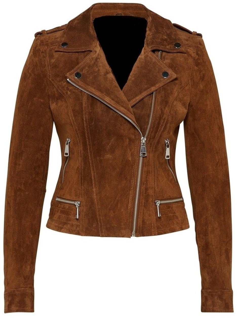 Women's Biker Style Zipper Dark Tan Suede Leather Jacket