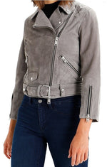 Women's Biker Style Zipper Dark Grey Suede Leather Jacket