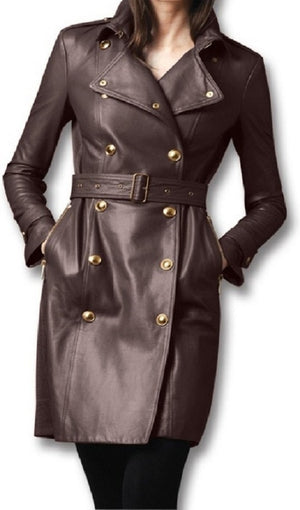 Women's Fashion Genuine Trench Leather Coat