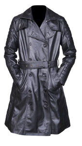 Women's Ladies Vintage Ladies Outerwear Long Black Leather Trench Coat